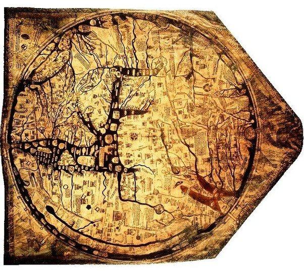 Antigo e impreciso mapa-mundi medieval